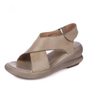 Image 2 - Женские босоножки ручной работы GKTINOO, натуральная кожа, на танкетке, Воловья кожа, высокий каблук, Нескользящие удобные летние сандалии