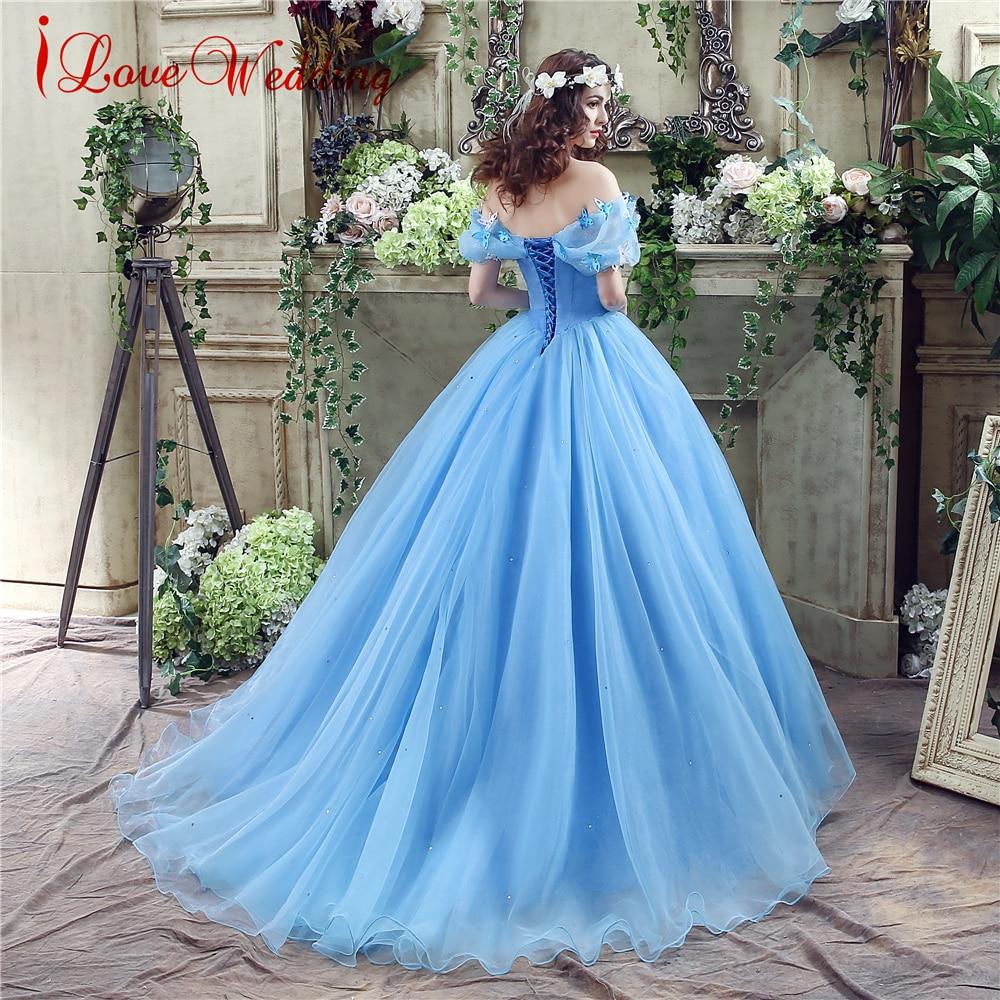 2019 Blauwe baljurk Prom Dress Nieuwe film Princess Cinderella - Jurken voor bijzondere gelegenheden - Foto 2