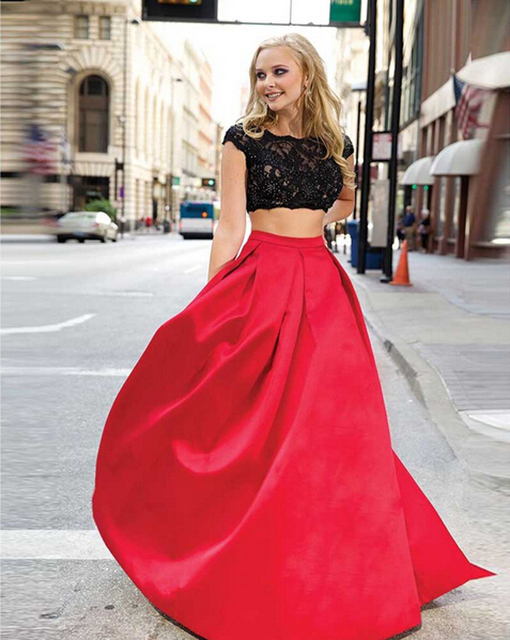 2015 Black Lace and Red Maxi Skirt 2 Piece Set Prom Gowns Cap Sleeve Crop  Top Women Party Prom Dress Sexy Abendkleider c8b2324381a9