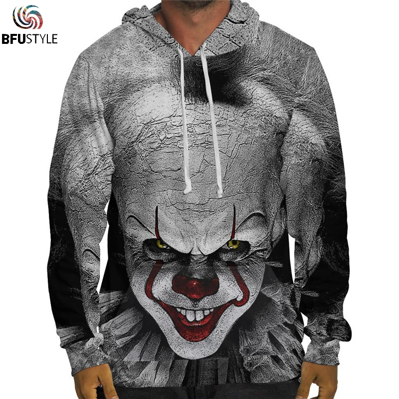 Men's Clothing Winter Jacket Men 2018 Movie It Pennywise Clown Funny Hoodie Thick Warm Hooded Zip Sweatshirt Women Brand Sportswear Tracksuit In Many Styles