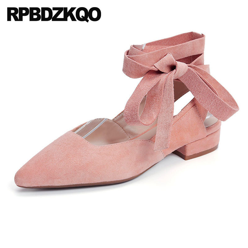 Women Sandals Lace Up Beautiful Slingback Pink Ankle Strap Wedding Ballet Shoes Ballerina Suede Pointed Toe Flats Candy Blue