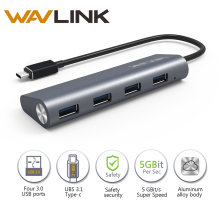 Wavlink 4-port USB 3.0 Hub Hub USB 3.1 Tipo C Tipo C aluminio Slef-powered Hub con Multi-Función de Dock para Windows Mac OS 10.2
