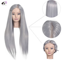 Bolihair Female Mannequin Head with Gray Hair 70cm Hairdressing Training head Mannequin Doll with Free gift