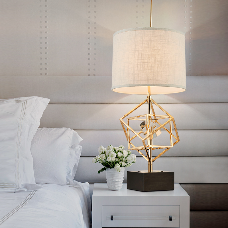 Modern Table Lamps For Living Room Home Led Desk Lamp Bedroom Reading E27 Metal Gold Overlapping squares Abajur Lamparas De Mesa eiffel tower modern reading led table light desk lamp stand living room
