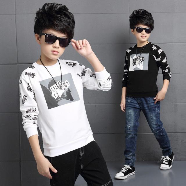 Outono moda outono menino T-shirt da luva cheia para crianças carta algodão estampado preto e branco grandes crianças jerseys TOP16