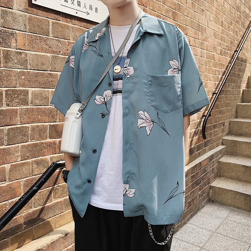 Men 39 s 2019 Summer New Print Short Sleeve Shirt Loose Slim Short Sleeve Shirt Personality Fashion Hip Hop Youth Men 39 s Wear in Casual Shirts from Men 39 s Clothing