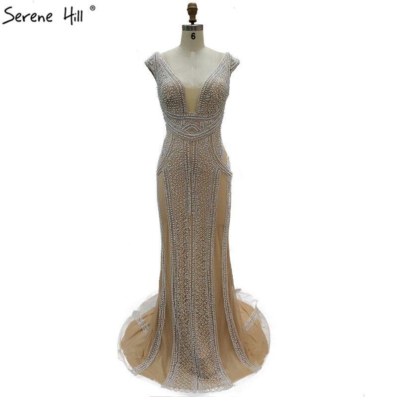 Dubai Gold Beading Pearls Luxury Evening Dresses 2019 Latest Design V-neck Sleeveless Sexy Evening Gowns Serene Hill La60896 Weddings & Events