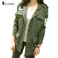 Jacket women 2016 Autumn jacket military army green jackets embroidery Epaulet drawstring adjustable chaqueta mujer coat C55301
