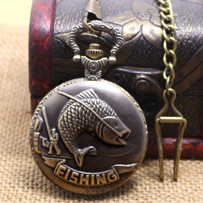 Vintage Bronze Retro Big Chain Fishing Farm Long Pendant Necklace Hour Steampunk High   Quality Free Shipping P108C