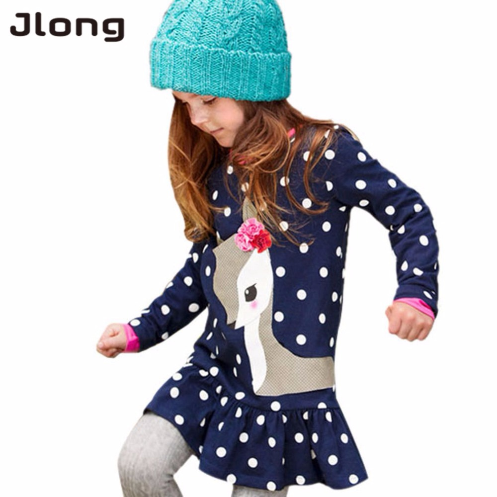 Baby Girl Clothes Kids Baby Girls Long Sleeve O-neck Dress One-piece Dots Deer Cotton Dresses Toddlers Clothes Kids Dress