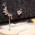 Novo 2016 coreano moda bonito brilhante Cubic Zirconia folha Stud Earrngs para mulheres reais 18 K banhado a ouro brincos de ouro jóias