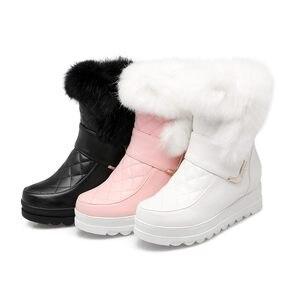 Image 2 - MORAZORA femmes bottes de neige haute qualité en cuir souple hauteur augmentant garde au chaud hiver bottines plate forme chaussures douces