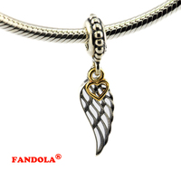 Fits Pandora Bracelets Angel Wing Dangle with Beads Authentic 925 Sterling Silver Charms for Jewelry Making CK074K