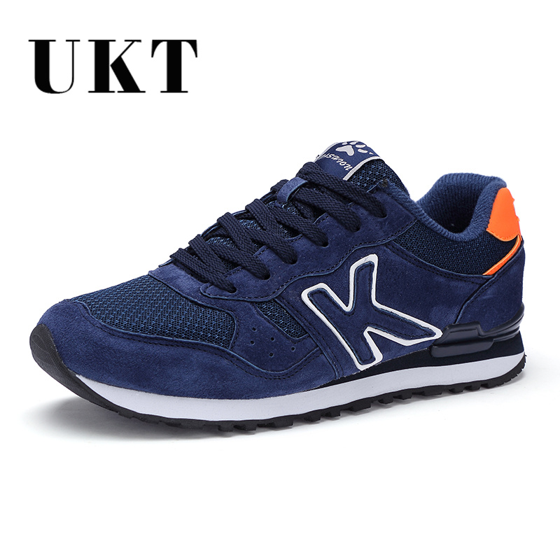 UKT Light Men Running Shoes Spring Autumn Artificial Genuine Leather Breathable Sport Shoes Cushioning Lace Up