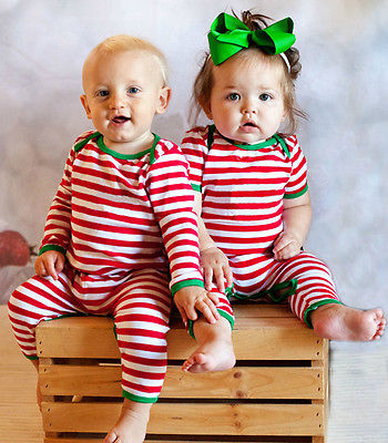 Xmas Toddler Baby Girls Boy Cotton Jumpsuit Bodysuit Cute Baby Boys Tops Long Sleeve Striped Clothes Outfits