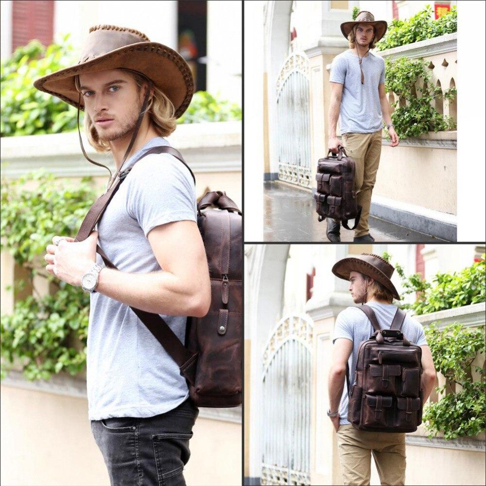 Ретро мужской рюкзак из натуральной кожи большой емкости для ноутбука школьная сумка рюкзак мужские коричневые сумки на ремне кожаные доро... - 3