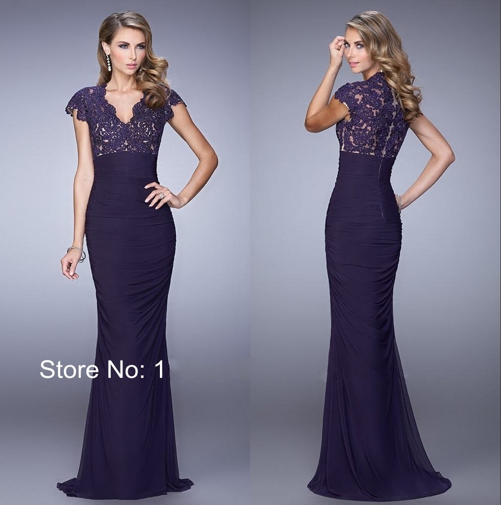 High Quality Dark Purple Trumpet Dress-Buy Cheap Dark Purple ...