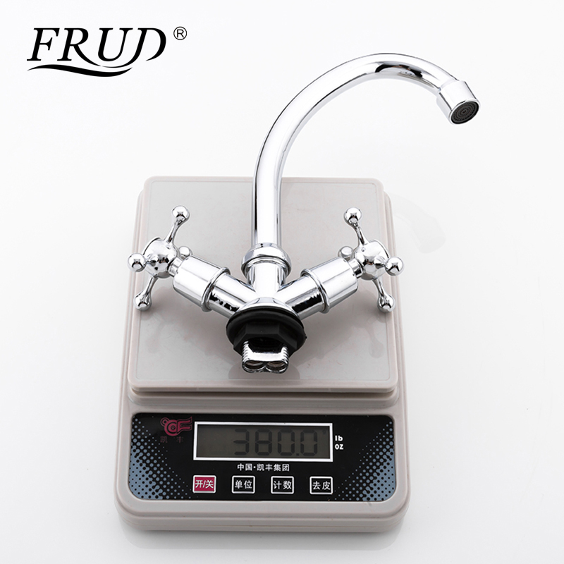 Image 5 - FRUD Kitchen Faucet Chrome plated J Letter Design 360 Degree Rotation with Water Purification Features Double HandleKitchen Faucets   -