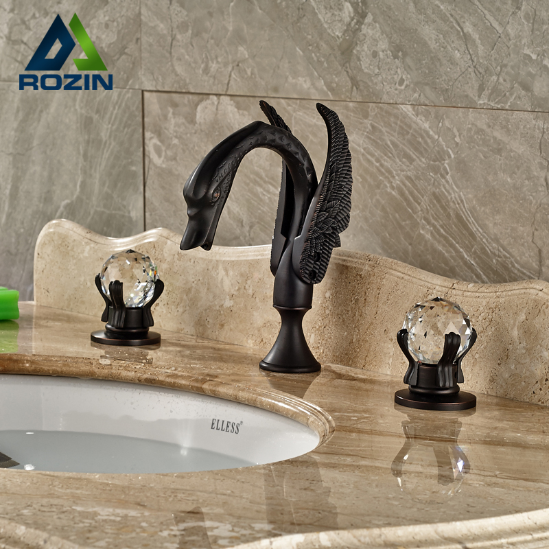 Deck Mount Two Crystal Handles Swan Basin Faucet Bathroom Sink Mixer Tap Blackened Bronze 3 holes 03 blackened green