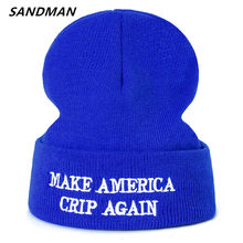 cb63be1941c SANDMAN High Quality Letter MAKE AMERICA CRIP AGAIN Casual Beanies For Men  Women Fashion Knitted Winter Hat Hip-hop Skullies Hat