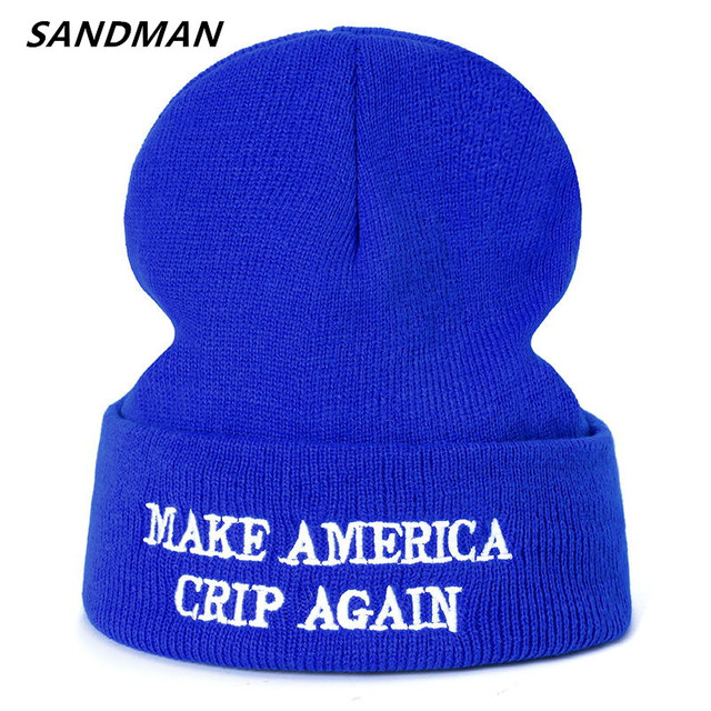 US $3 99 20% OFF|SANDMAN High Quality Letter MAKE AMERICA CRIP AGAIN Casual  Beanies For Men Women Fashion Knitted Winter Hat Hip hop Skullies Hat-in