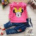 BibiCola primavera roupa das crianças set Criança meninas dos desenhos animados Minnie mouse t-shirt + calças jardineiras conjunto terno do bebê conjunto de roupas meninas
