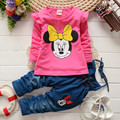 BibiCola spring children clothing set Toddler girls cartoon Minnie mouse t-shirt +bib pants suit set  baby girls clothing set