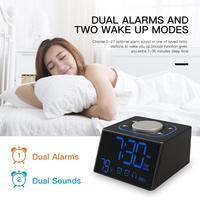 LED Alarm Clock Digital Radio USB Electronic Home Table Decor Snooze Clock