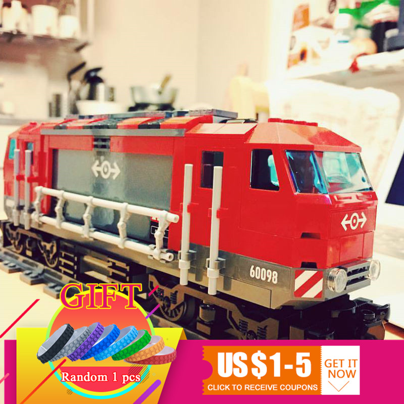 02009 1033Pcs Genuine The Heavy-haul City Series Train Set 60098 Building Blocks Bricks Educational Toys As Christmas Gift lepin 02009 city series heavy haul train set genuine 1033pcs building blocks bricks educational toys boy christmas gifts 60098