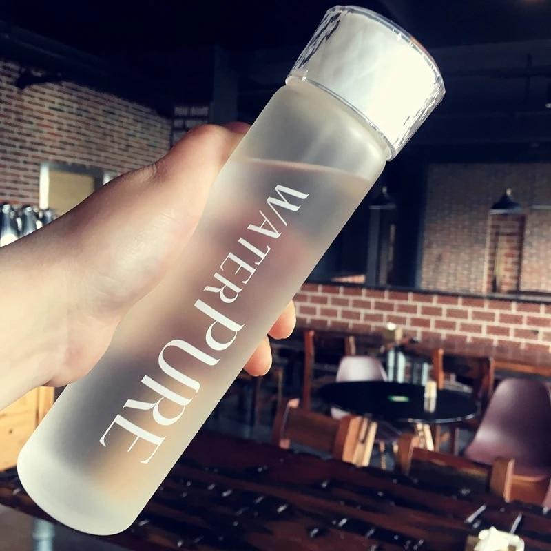 Botella de agua de vidrio botella de bebida de polaco opaco portátil contenedor de agua saludable creativo