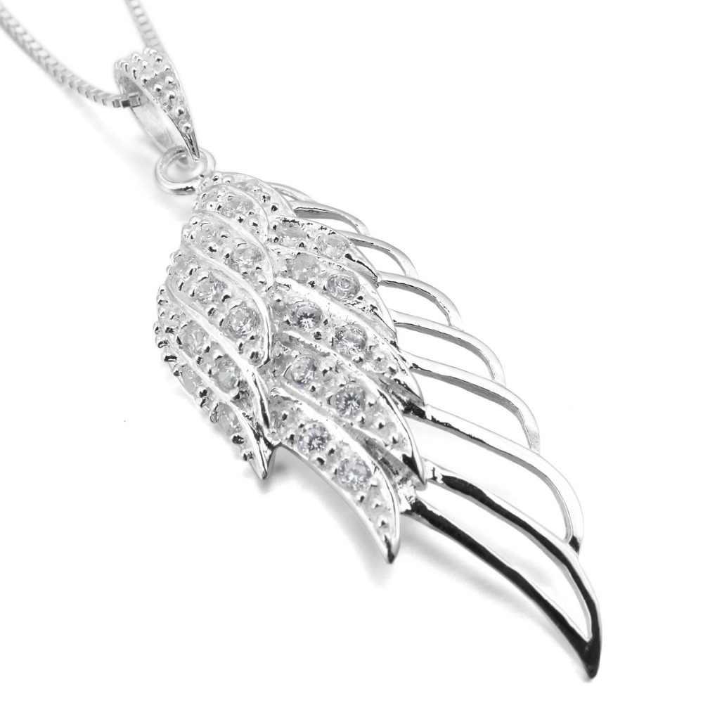 Wyświetlono 2020 kobiet 925 srebro skrzydła anioła wisiorek sześcienny naszyjnik z cyrkonią 925 srebro-z łańcuchem 18in