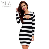 Yilia 2017 New Women Knitted Sweater Dresses Sexy Casual Stripe Black White Dress Vestidos Long Sleeves