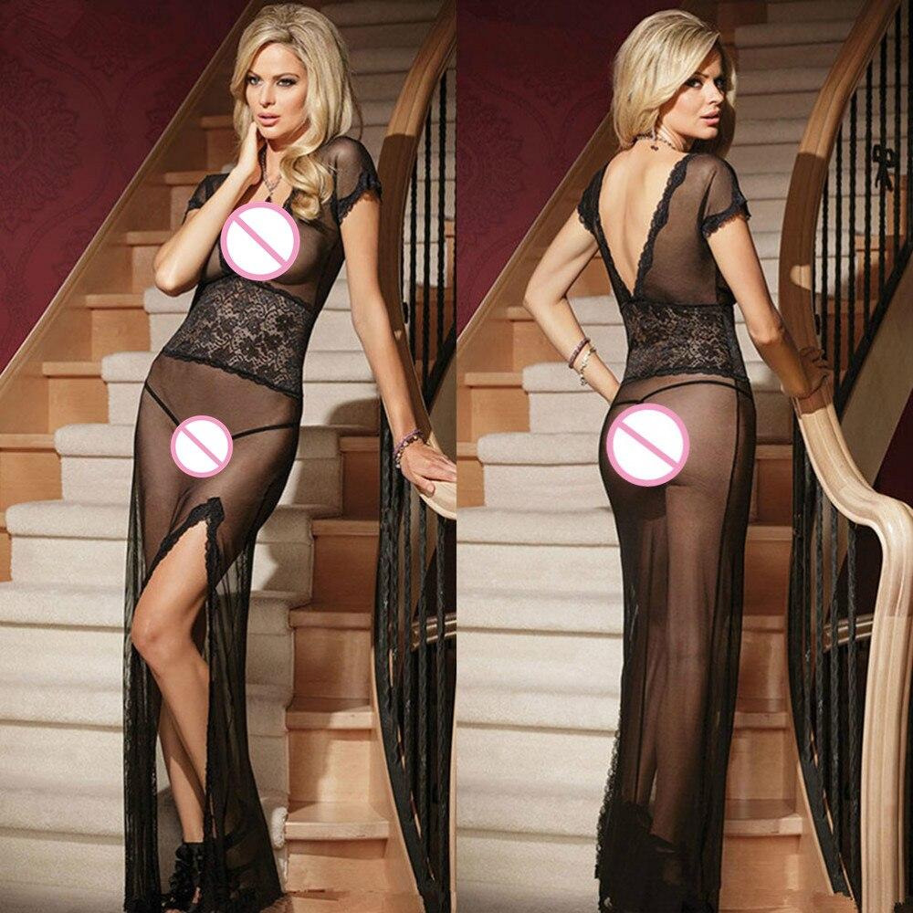 Black/Red/White Sexy Women Sexy Nightwear Sleepwear Long Night Gown Sheer Mesh Night Dress Erotic Long Lingerie