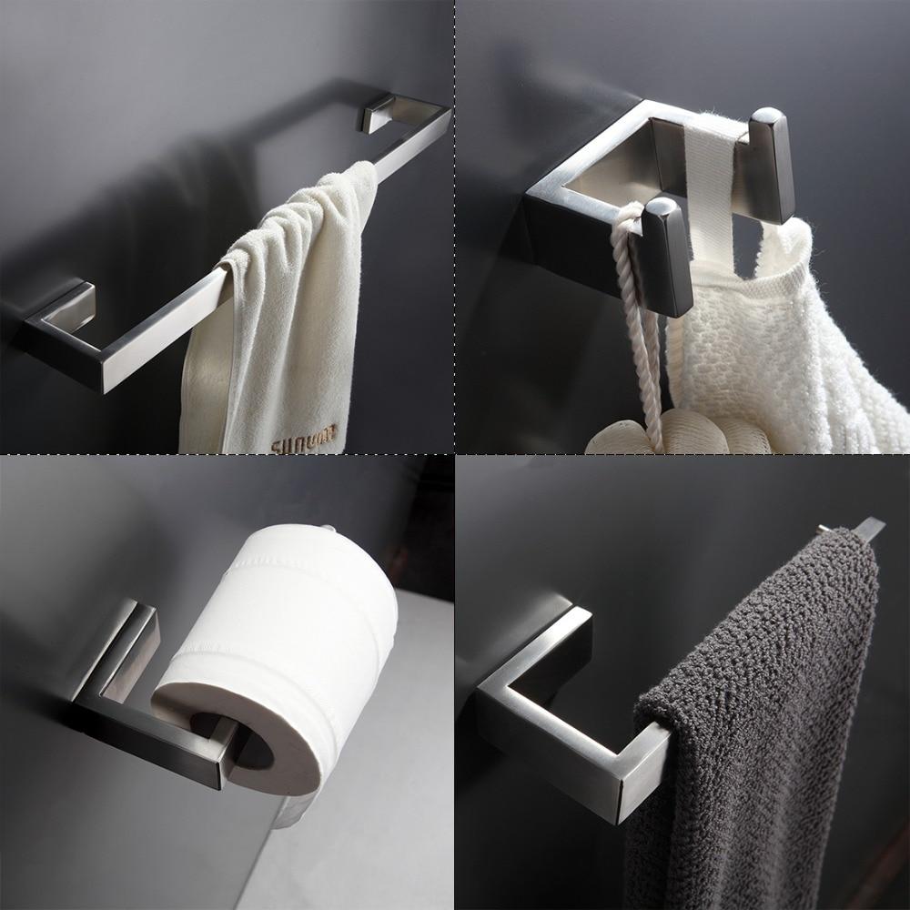 304 Stainless Steel Bathroom Accessories Set Single Towel Bar, Robe Hook, Paper Holder Bath Hardware Sets