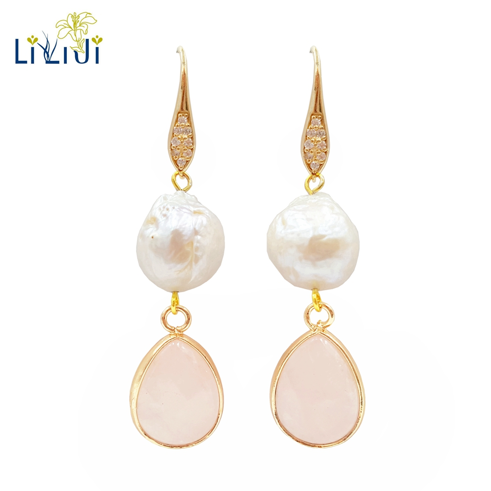 LiiJi Unique Natural Rose Quartzs Baroque Freshwater Pearl 925 Sterling Silver Gold Color Shining Earring Women
