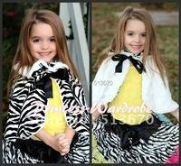 Arco negro de la niña fluff reversible Zebra Print capa del mantón de la bufanda de Petti
