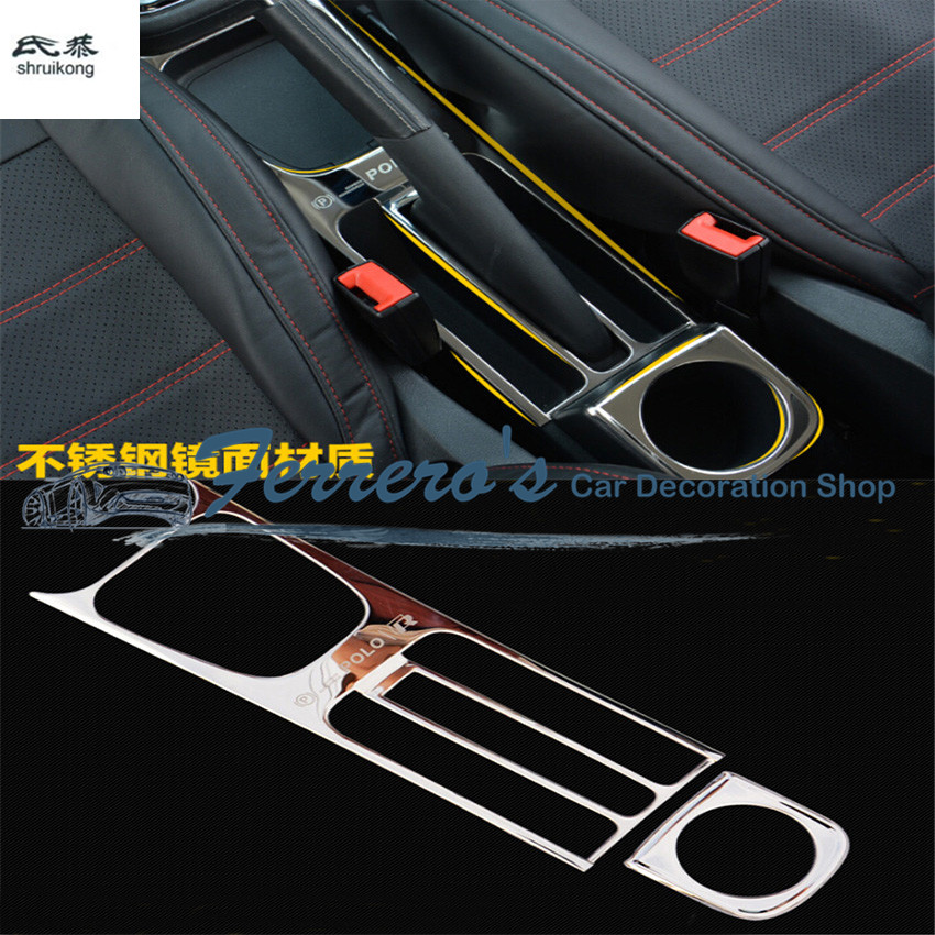 Free shipping 2pcs/lot Car stickers Stainless steel Handbrake panel cover decoration for 2011-2017 Volkswagen VW POLO 6R 6C