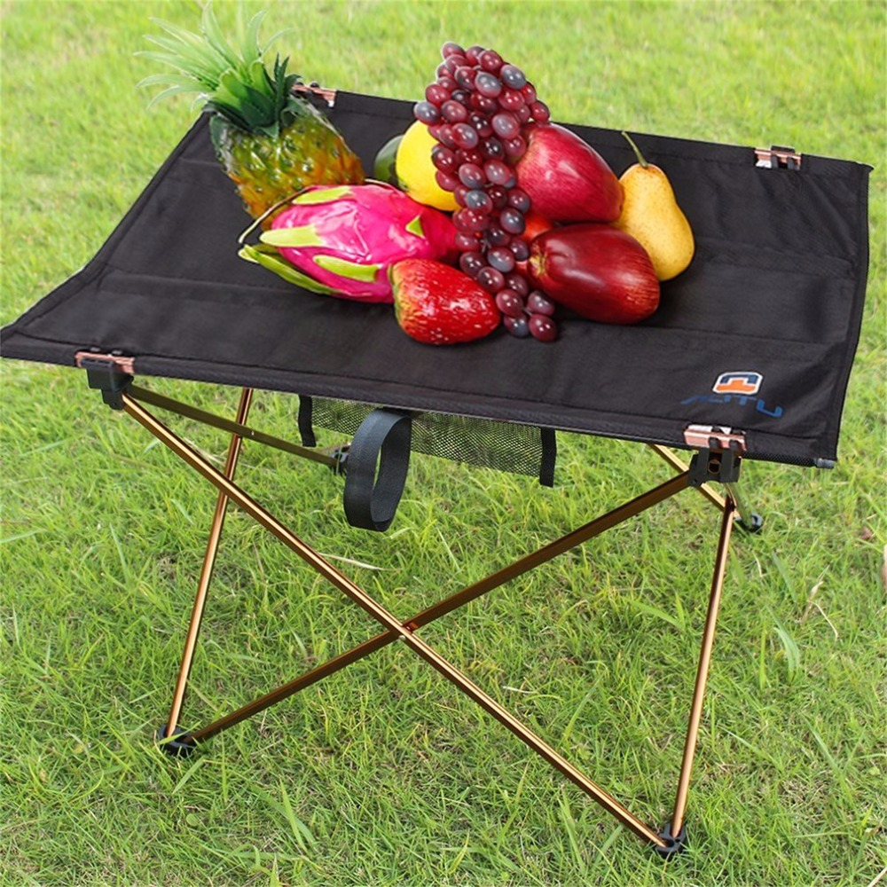 AOTU Outdoor Picnic Folding Camping Table Foldable Table Desk Lightweight Aluminium Alloy Bracket Oxford Fabric