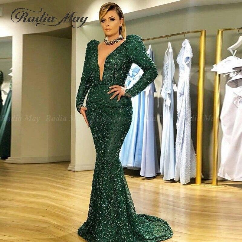 Arabic Long Sleeves Emerald Green Mermaid Evening Dress Sex V Neck Pearls Plus Size Women Formal