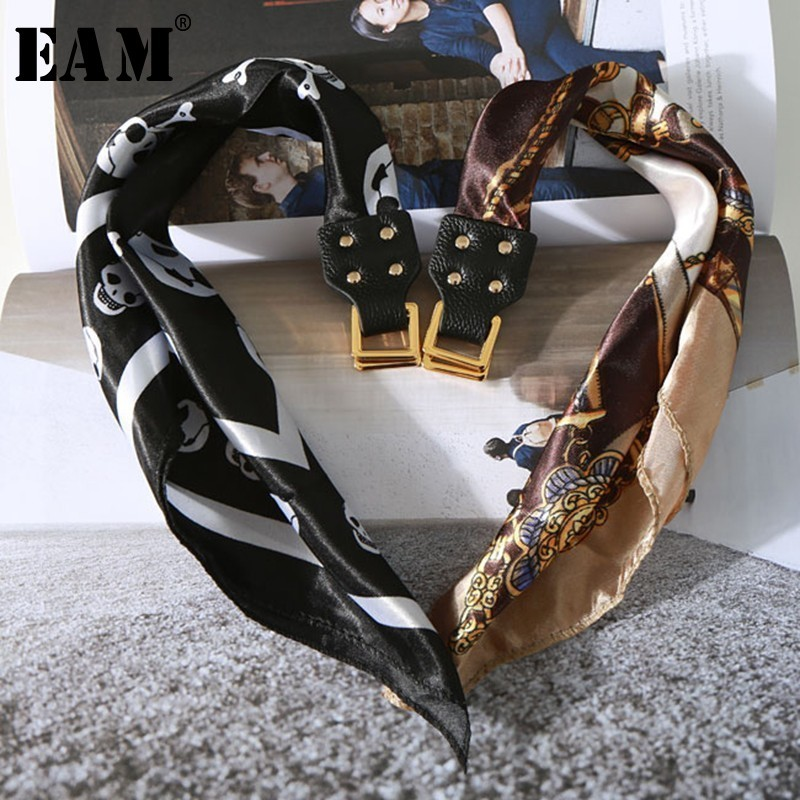 [EAM] High Quality New 2018 Autumn Fashion Street Tide Wild Smooth Scarf Metal Texture Laceup Buckle Necklace Women' LA354