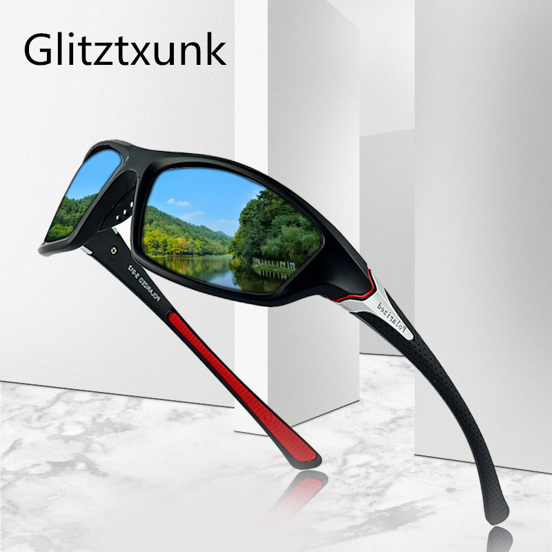 Glitztxunk New Polarized Sunglasses Men Women Brand Design Vintage Male Square Sports Sun Glasses For Men Driving Shades Eyewear