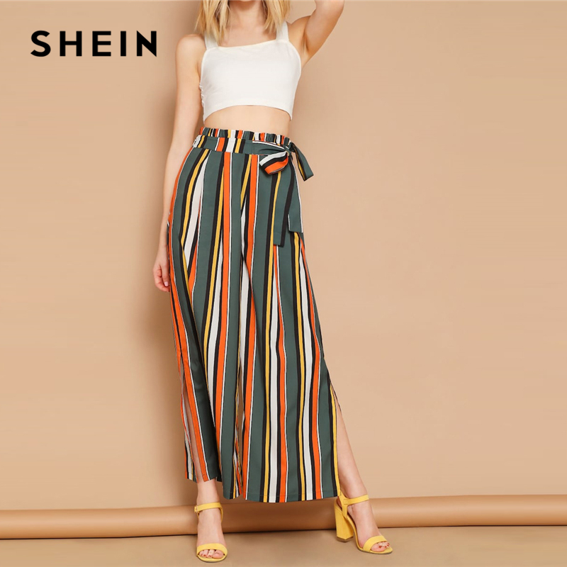 301abebb0e81a6 Detail Feedback Questions about SHEIN Boho Multicolor Self Belted Split Side  Colorful Striped Palazzo Pants Trousers Women High Waist Long Pants For  Spring ...