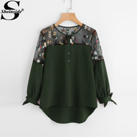 Sheinside Army Green Embroidered Lace Panel Dip Hem Tie Cuff Blouse 2017 Round Neck Long Sleeve