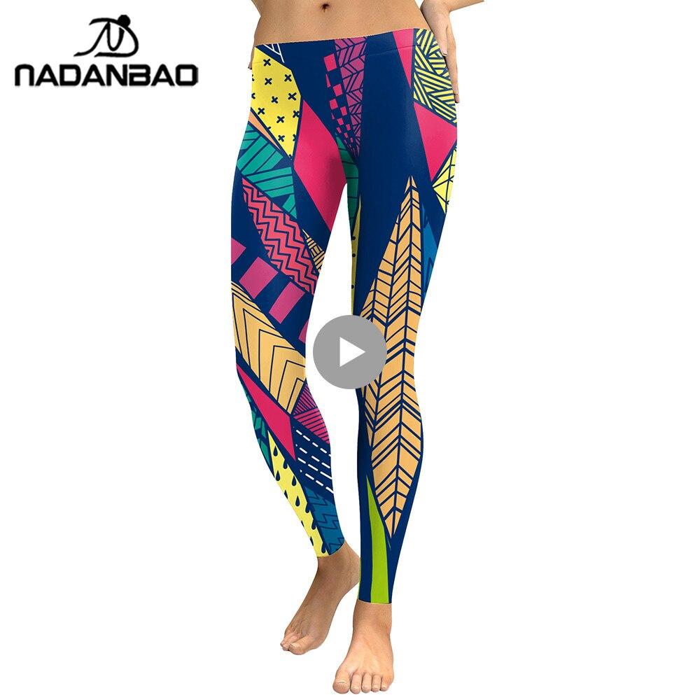 NADANBAO New Arrival Boho 2018 Women Workout Leggings Geometry Pattern Leaves Digital Print Fitness Legging High Waist Pants
