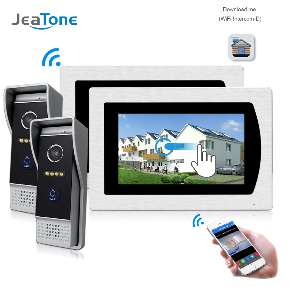 7'' WIFI IP Video Door Phone Intercom Wireless Door Bell Speaker Access Control System Touch Screen Motion Detection Door Camera 7 inch password id card video door phone home access control system wired video intercome door bell