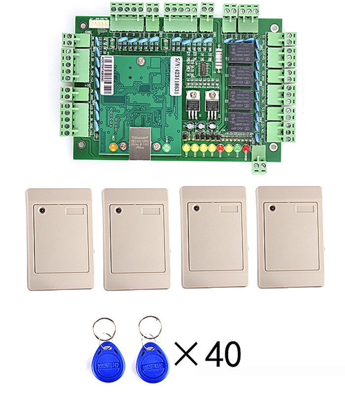 Four Door TCP/IP Network Access Control Board Green Board for Door Access Control System+4 Pcs Card Reader +40 Pcs Key Card tcp ip network l04 intelligent four door one way door access control panel for four door control support english software