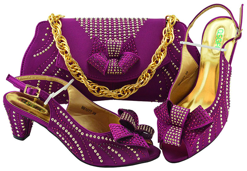 d05abb154bb6 Low heel magenta shoes and bag matching set for african aso ebi nice fashion  sandal and