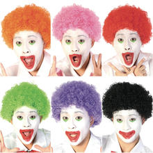 "10"" Halloween Clown Wig Afro Curly Explosive Head Synthetic Hair Pink Purple Black Dance Bar Wedding Party Wig Heat Resistant(China)"