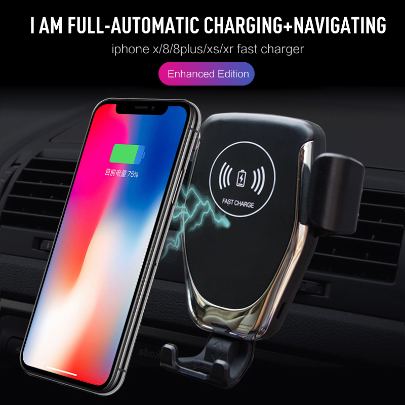 10W QI Wireless Fast Charger Car Mount Holder Stand For iPhone XS Max Samsung S9 For Xiaomi MIX 2S Huawei Mate 20 Pro Mate 20 RS