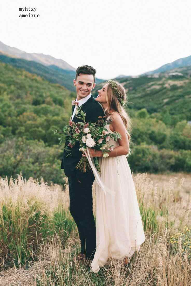 Vestido デ Noiva 2019 シンプルな格安ビーチウェディングドレスシフォン夏の花嫁衣装床の長さの中国ローブデ bal